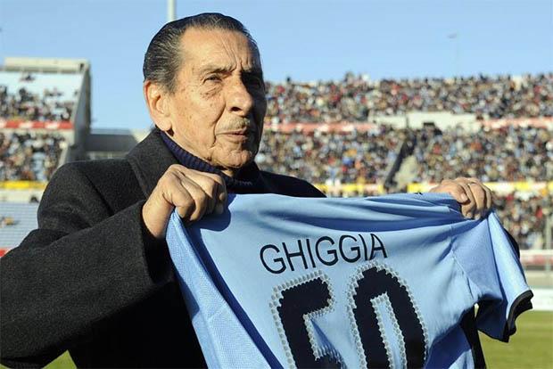Ghiggia, na homenagem de 2013: herói da Copa de 1950